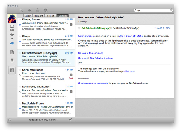 Sparrow: New Email Client for Mac That's Just Like Tweetie