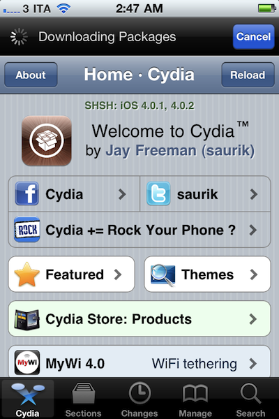 Jailbreak iPhone on iOS 4 1, Install Your First Cydia Apps